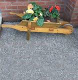 Wheelbarrow kwiatu tła teksta kopia obraz stock