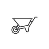 Wheelbarrow line icon, outline vector sign, linear style pictogram isolated on white. Symbol, logo illustration. Editable stroke. Stock Photography