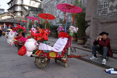 The wheelbarrow in luodai old town Royalty Free Stock Photography