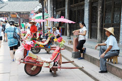 The wheelbarrow in luodai old town Royalty Free Stock Image