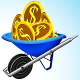 Wheelbarrow and money Royalty Free Stock Image
