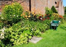 Wheelbarrow next to a colorful flower border Royalty Free Stock Image