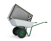 Wheelbarrow old tv. Isolated on a white background Stock Photography