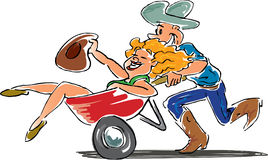 Wheelbarrow Race. Cowboy pushing girl in wheel barrow race Royalty Free Stock Photos