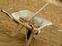 Wheelbarrow and rake on dry land. stock images
