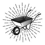 Wheelbarrow with rays vector vintage illustration Royalty Free Stock Images