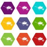 Wheelbarrow with sand icon set color hexahedron Stock Photos