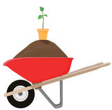 Wheelbarrow & Seedling Royalty Free Stock Images
