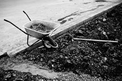 Wheelbarrow and shovel Royalty Free Stock Photos