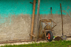Wheelbarrow and shovel Stock Photography