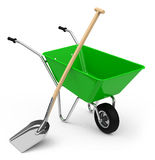 Wheelbarrow with shovel Royalty Free Stock Images
