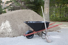 Wheelbarrow shovel and dirt Royalty Free Stock Image