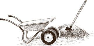 Wheelbarrow and shovel Royalty Free Stock Images