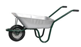 Wheelbarrow. Silver Wheelbarrow on white background Royalty Free Stock Image
