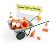 Wheelbarrow sob a construção Fotografia de Stock Royalty Free