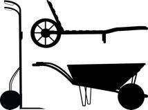Wheelbarrow sylwetki set Fotografia Royalty Free