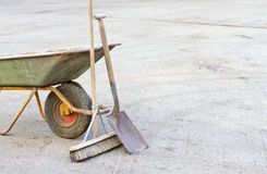 Wheelbarrow with tools Royalty Free Stock Photo