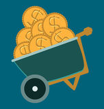 Wheelbarrow, truck icon design. dollar coins. Business and financial concept royalty free illustration