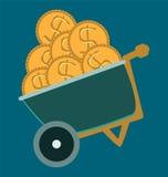 Wheelbarrow, truck icon design. dollar coins Royalty Free Stock Photo