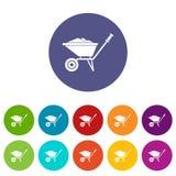 Wheelbarrow ustalone ikony Zdjęcie Royalty Free