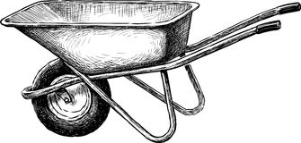 Wheelbarrow. Vector drawing of a garden wheelbarrow Stock Photos