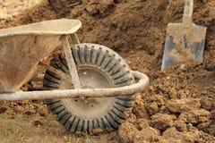 Wheelbarrow wheel closeup Stock Image