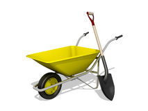 Wheelbarrow Wheelbarrow and shovel Stock Images