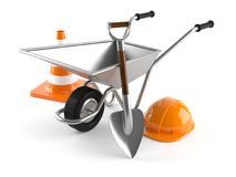 Wheelbarrow with work tools. On white background Royalty Free Stock Images