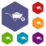 Wheelbarrow z piasek ikonami ustawiać Obrazy Royalty Free