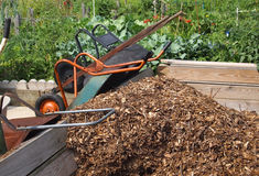 Wheelbarrows Community Mulch Stock Photography