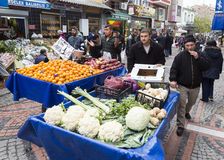 Wheelbarrows fruits vegetables Royalty Free Stock Photography
