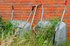 Wheelbarrows in neglected garden Stock Photo