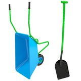 Wheelbarrows and shovel. Isolated render on a white background Royalty Free Stock Photos
