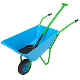 Wheelbarrows and shovel. Isolated render on a white background Stock Image