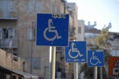 Wheelchair. Street sign Jerusalem Israel Royalty Free Stock Photos