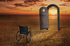 Wheelchair access and dimension door in the evening. Desert atmosphere royalty free stock images