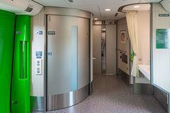 Wheelchair accessible toilets and Multi-purpose space in H5 train. Royalty Free Stock Images