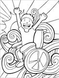 Wheelchair Adventurer - black and white Royalty Free Stock Photography