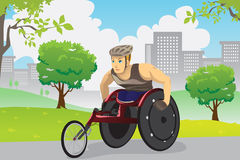 Wheelchair athlete. A vector illustration of an athlete in wheelchair training outdoor Royalty Free Stock Photo