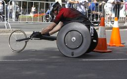 Wheelchair Athlete. In a race Stock Photos