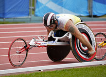 Wheelchair athlete male race canada. The 10,000-meter run wheelchair winner Joshua Cassidy at the Canadian Track & Field Championships June 22, 2013 in Moncton Royalty Free Stock Photo