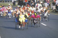 Wheelchair athletes in marathon run Stock Image