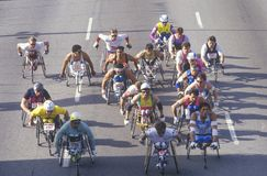 Wheelchair athletes in marathon run Royalty Free Stock Photo