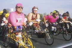 Wheelchair athletes at start line Stock Photo