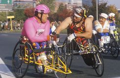 Wheelchair athletes at start line Stock Images