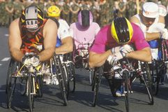 Wheelchair athletes at start line of marathon run, Washington, D.C. Royalty Free Stock Photography