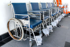 Wheelchair available Lined up in hospital Stock Photos