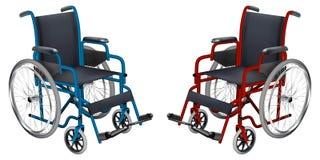 wheelchair Błękitni i czerwoni kolory Medycyna i zdrowie Odosobniony przedmiot ściągania ilustracj wizerunek przygotowywający wek ilustracji