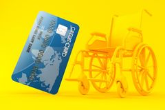 Wheelchair background with credit card. In orange color. 3d illustration Royalty Free Stock Images