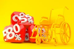 Wheelchair background with percent numbers. In orange color Royalty Free Stock Photo
